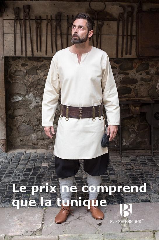 Moyen âge chemise tunique tunique ARTHUR Noir